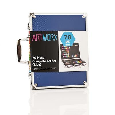 Artworx Childrens Artists Aluminium Art Case Colouring Set Paints Pencils Felts 4