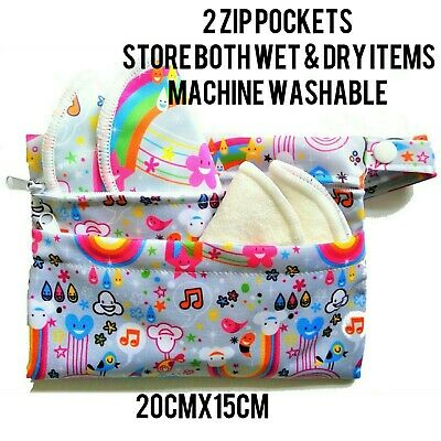 2 Pocket Double Zip Wet /Dry Waterproof Nappy Bag Hot Pink Narwhal Rainbow Small 3