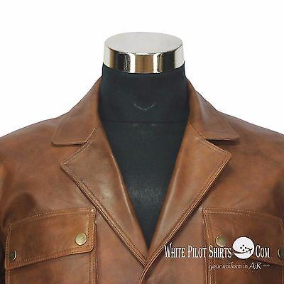 Douglas Blazer Leather Jacket Men Military style Vintage Antique Brown 4 pockets 4