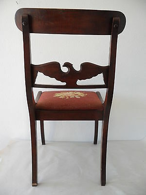 Antique Needle Point Chair with Carved Eagle on Back 8