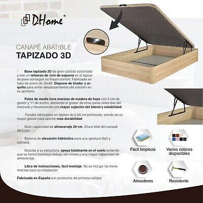 Canape Abatible tapizado 3D 4 VALVULAS AIREACIÓN, 29cm capacidad, canapé NUEVO 2