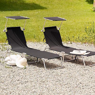 Beautiful Affordable Von Alu Gartenliege Sonnenliege Liegestuhl Liege  Klappbar Mit Dach Cm Schwarz With Alu Gartenliege With Liegestuhl Mit Dach