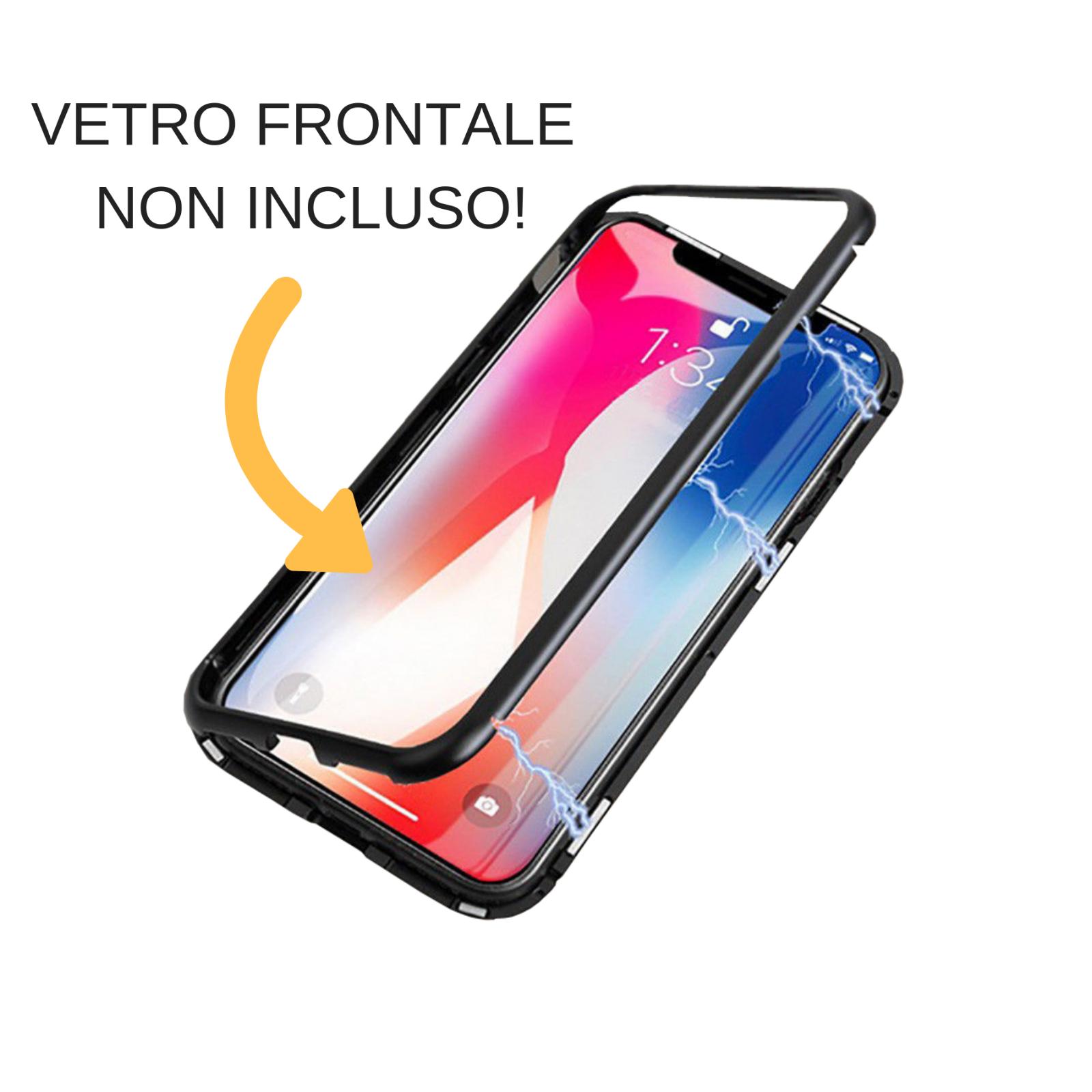 Cover Custodia Magnetica Alluminio Vetro Temperato Apple Iphone 6 6S 7 8 X Xs Xr 8