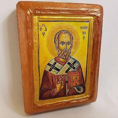 Saint Nicholas Nikolaos Agios Nikolas Rare Byzantine Greek Orthodox Icon Art 2