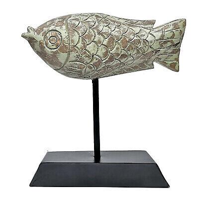 Holzoptik 29 cm maritim Fisch Dorade Skulptur Dekoobjekt Kunstobjekt