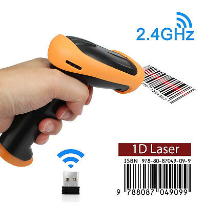 2 IN 1 USB Wired & 2.4GHz Wireless Barcode Scanner Reader for Store Warehouse 1D 3