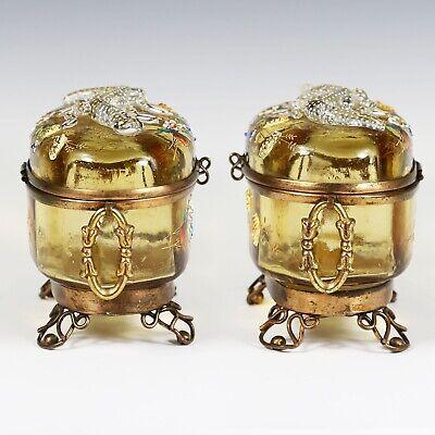Antique Moser Bohemian amber art glass Casket hinged box enameled applied lizard 4