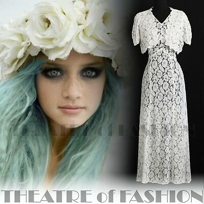 DRESS 30s WEDDING LACE JACKET 20s VINTAGE 40s GATSBY DECO CROCHET GODDESS ICON 10