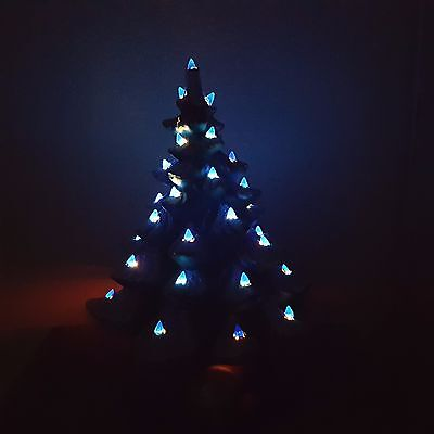 3 of 10 vintage molded ceramic christmas tree musical with blue lights and switch cord - Christmas Tree With Blue Lights