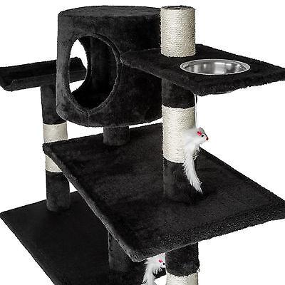 Arbre à chat xxl griffoir grattoir geant avec 2 grottes noir 3