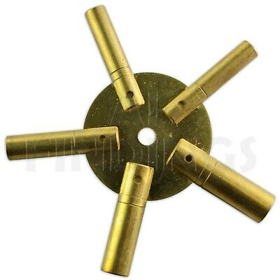 Set Of 2 Clock Winding Keys - All Sizes Brass Spider Star Pair - Odd And Even 2