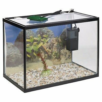 26 Litre Glass Aquarium Fish Tank Starter Kit Set Filter Pump Net Plant Stones 2