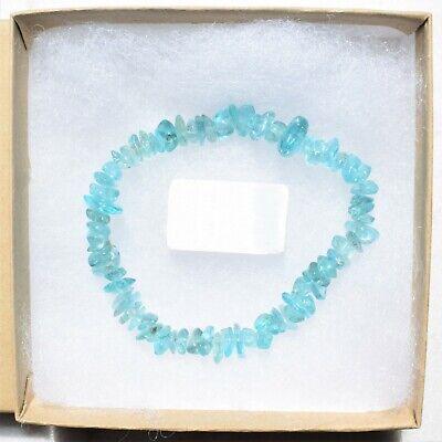CHARGED Blue Apatite Crystal Chip Bracelet Polished Stretchy ENERGY REIKI 8