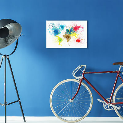 ZAB1584 Colourful World Map Modern Canvas Abstract Home Wall Art Picture Prints 2