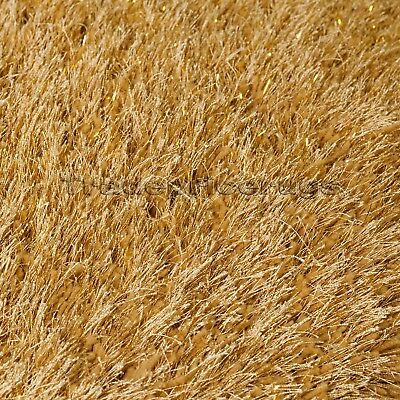 Dazzle Ochre Mustard Yellow Thick Long Pile Glitter Gold Sparkle Shaggy Rug 6