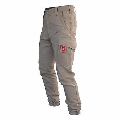Mens Cargo Pants Trousers Elastic Banded ankle cuff, Cotton Work Wear Tapered 11