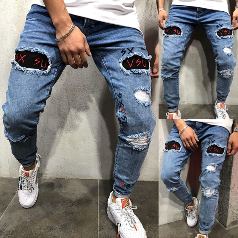Mens Boys Stretch Skinny Ripped Jeans Biker Frayed Denim Leisure Tight Trousers 11