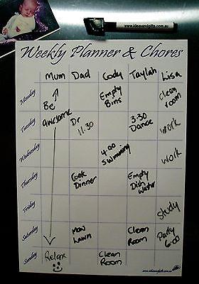 A4 Whiteboard +5pen Monthly Weekly Organiser Family Office Planner Fridge Magnet 3
