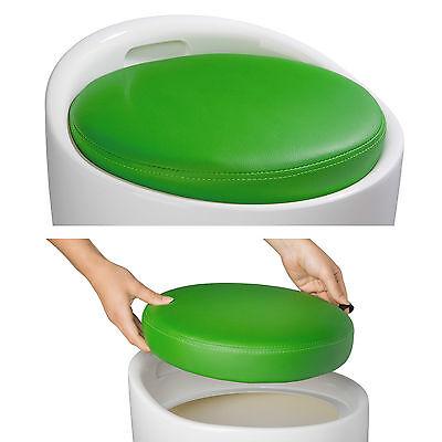 Taburete de baño asiento redondo moderno silla cesta de ropa con espacio verde