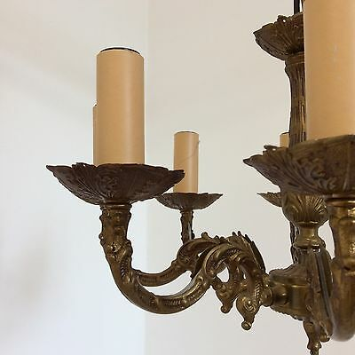 French Antique Style 8 Arm Decorative Brass Chandelier 7