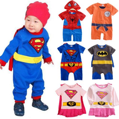 35b86b96e HERO SUPERMAN BATMAN Funky Cute Fancy Dress Baby Grow Outfit Romper ...