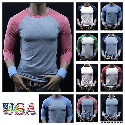 Men 3/4 Sleeve Baseball T-Shirt Tri- Blend Casual Slim Fit Crew Neck Hipster Gym 2