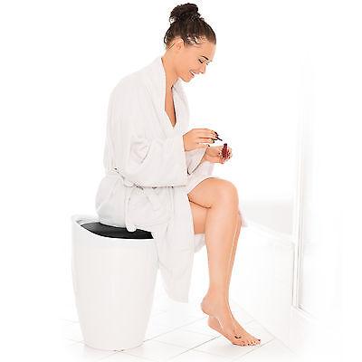 Taburete de baño asiento redondo moderno silla cesta de ropa con espacio negro