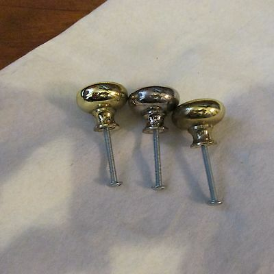 3 Vintage Polished Brass Heavy Metal Drawer Pulls or Knobs & Screws 5