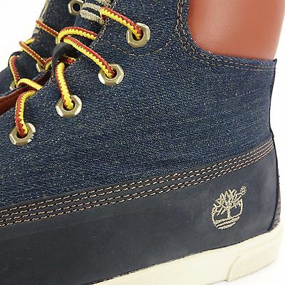 Juniors TIMBERLAND 2 0 6INF ZIP Navy Blue Canvas Trainers Boots 7098R