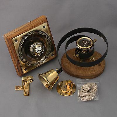 Victorian Style Brass Claverley Front Door Bell Pull & Bell 7