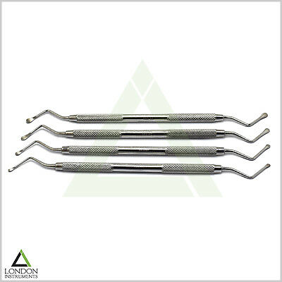 Dental Instruments implant Surgical LUCAS BONE CURETTES Set of 4 2