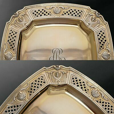 Antique French Sterling Silver Gold Vermeil Compote Footed Tray Serving Plate 4 2