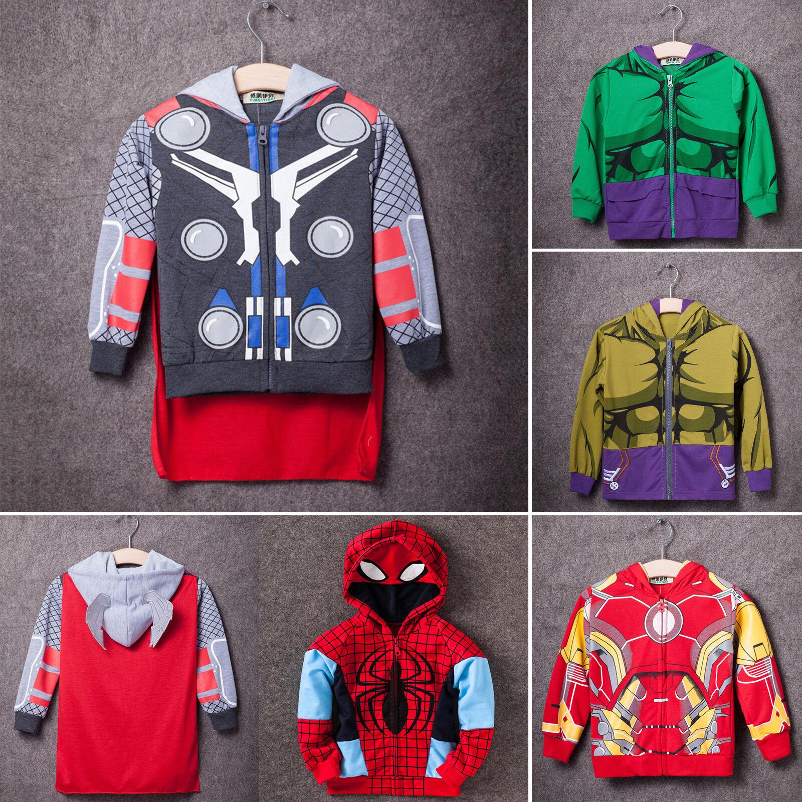 AU Boys Girls Kids Superhero Captain America Iron Man Hulk Costume Hoodie Jacket 6