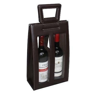 Leather Red Wine carrier bag brown Gift Bags for 2 double bottle 3