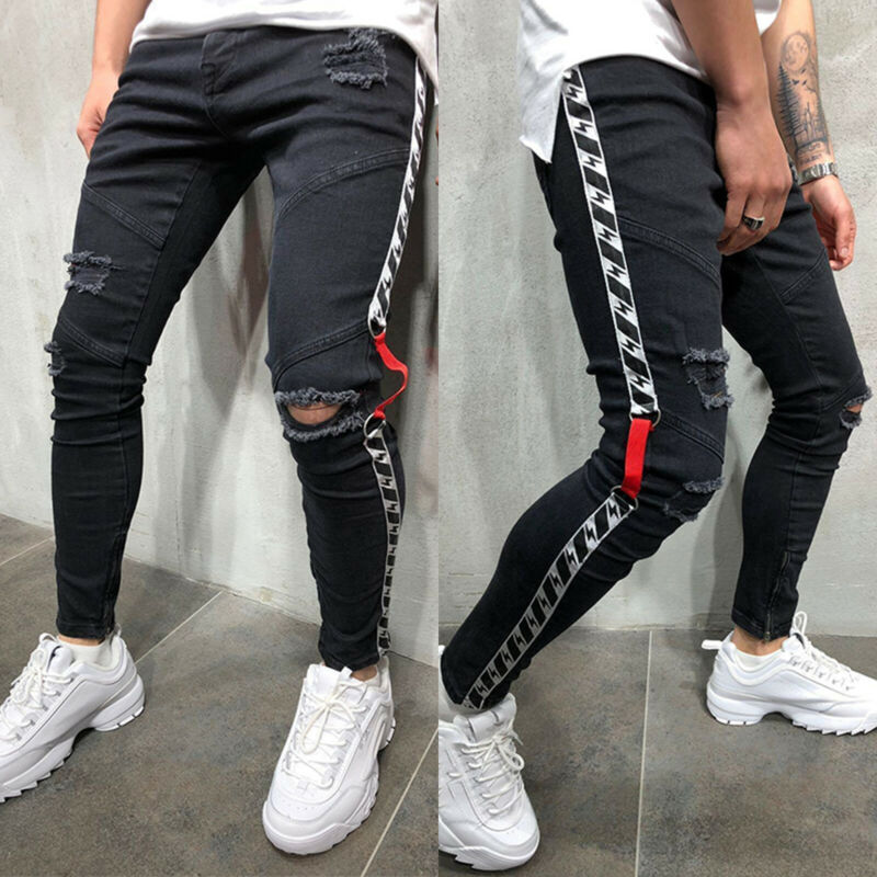 Mens Boys Stretch Skinny Ripped Jeans Biker Frayed Denim Leisure Tight Trousers 6