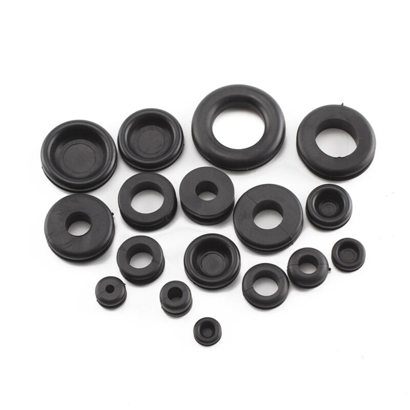 DSL 200PCs Rubber Grommets Blanking Open//Closed Blind Grommet Set Assorted Sizes
