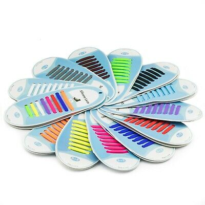 Coloured Rubber Silicone Easy No Tie Shoelaces Adult & Child Trainer Shoe Laces 2