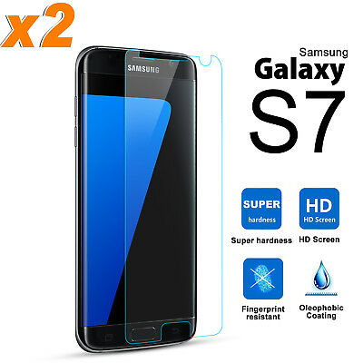 2X Genuine Tempered Glass Screen Protector Film for Samsung Galaxy S7 7
