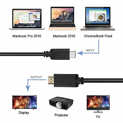 USB-C Type C USB 3.1 Male to HDMI Female Adapter Cable For LeTV Phone MacBook 12 5