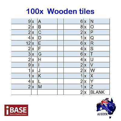 100 / 200 Wooden Alphabet Scrabble Tiles Scrapbooking Handcraft Black Letter set 2