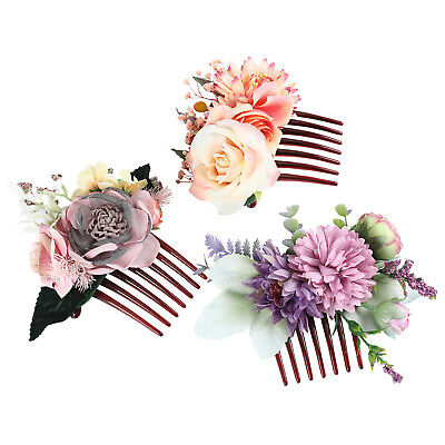 Women's Flower Hair Comb Slide Clips Pins Wedding Bridal Hair Accessories Party 7