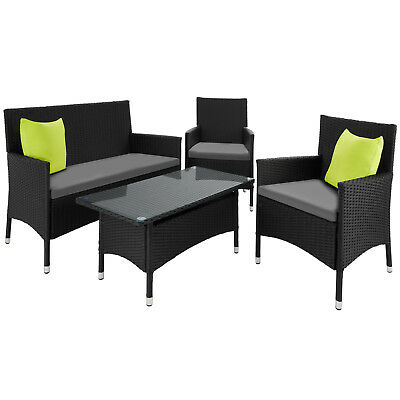 Alu Ensemble Salon de jardin résine tressée poly rotin canapé table 2 fauteuils