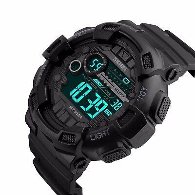 SKMEI Men's Watch G Style Sport Digital Display LED Shock Quartz Rubber Black 2