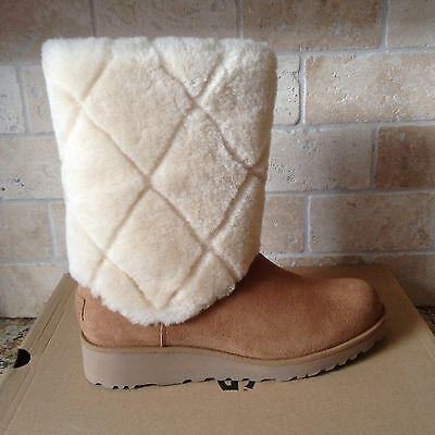 305e3e5fec0 UGG ARIELLA LUXE Diamond Chestnut Suede Fur Cuff Wedge Short Boots Size 9  Womens