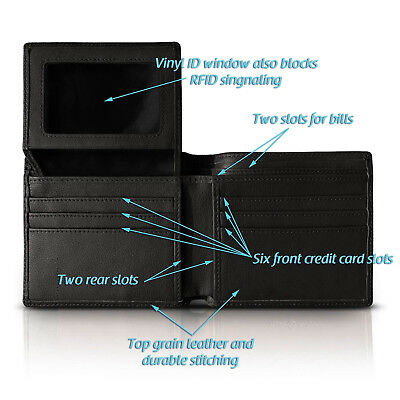 Gift Box For Men High-End Build RFID Blocking Trifold Bifold 11 Pocket ID Window 10