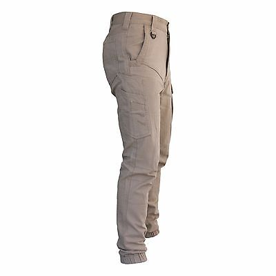 Mens Cargo Pants Trousers Elastic Banded ankle cuff, Cotton Work Wear Tapered 5