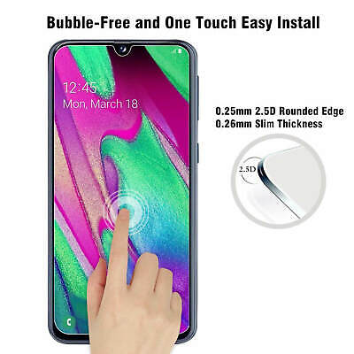 Samsung Galaxy A40 A50 Clear Gel Case Tempered Glass Screen Protector TPU Cover 9