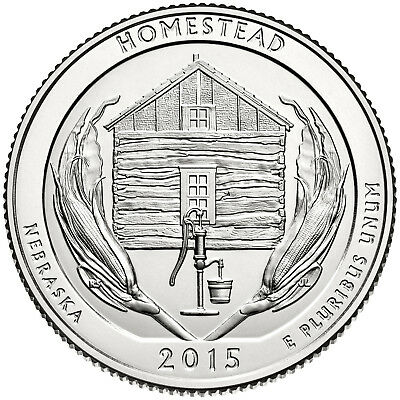 "2015 HOMESTEAD, NEBRASKA ""ATB"" NATIONAL PARK QUARTER BANK WRAP ROLL P or D MINT 2"