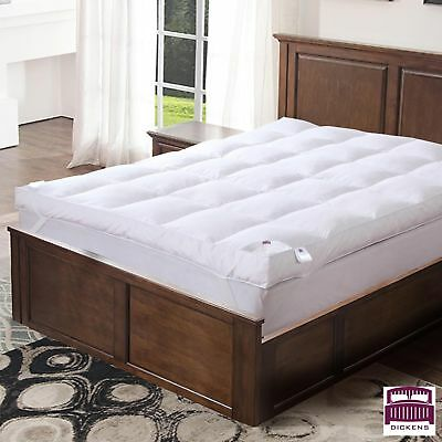 Goose Feather Down Mattress Topper Enhancer Luxury 10cm Deep Bed Protector Hotel 3