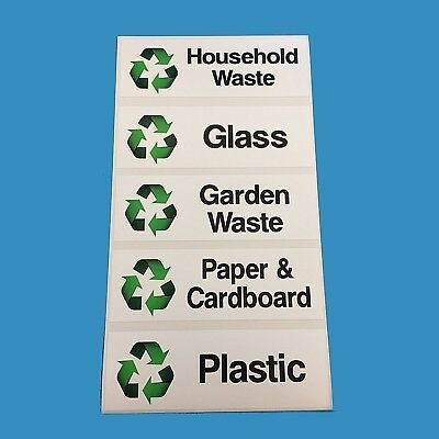 """3 X White Wheelie Bin House Number Stickers 7"""" High OR Recycling Stickers 5"""